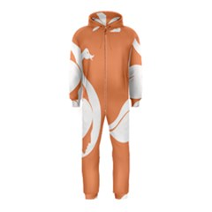 Swan Girl Face Hair Face Orange White Hooded Jumpsuit (Kids)