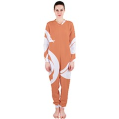 Swan Girl Face Hair Face Orange White OnePiece Jumpsuit (Ladies)