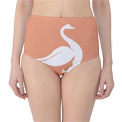 Swan Girl Face Hair Face Orange White High-Waist Bikini Bottoms