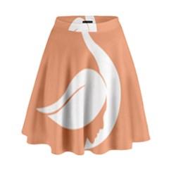 Swan Girl Face Hair Face Orange White High Waist Skirt