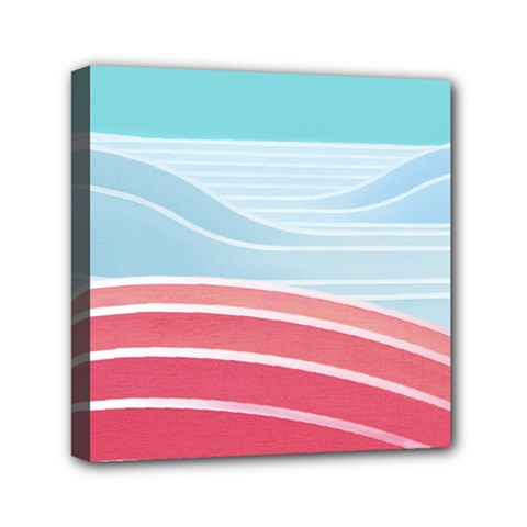 Wave Waves Blue Red Mini Canvas 6  x 6