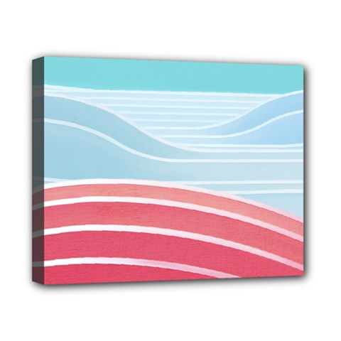 Wave Waves Blue Red Canvas 10  x 8
