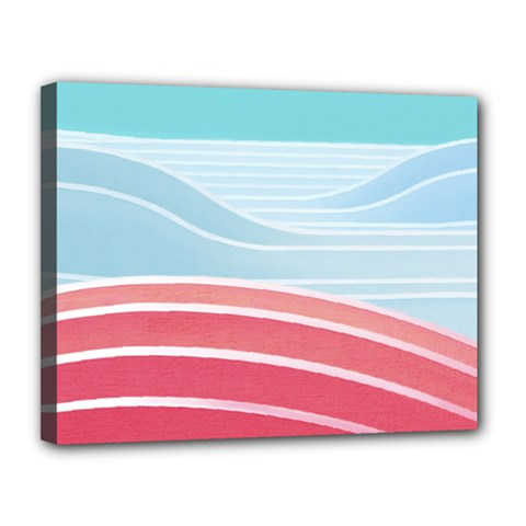 Wave Waves Blue Red Canvas 14  x 11