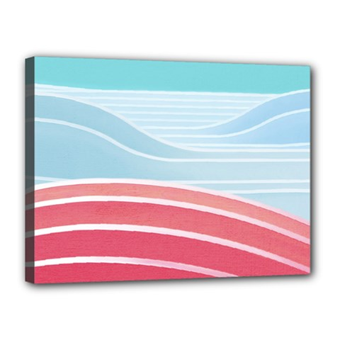 Wave Waves Blue Red Canvas 16  x 12