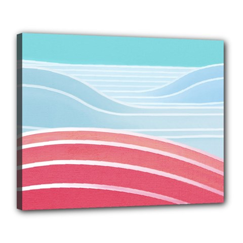 Wave Waves Blue Red Canvas 20  X 16