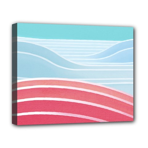 Wave Waves Blue Red Deluxe Canvas 20  x 16