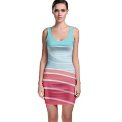 Wave Waves Blue Red Sleeveless Bodycon Dress