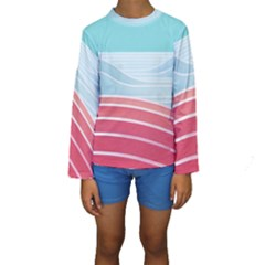 Wave Waves Blue Red Kids  Long Sleeve Swimwear