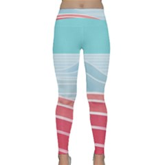 Wave Waves Blue Red Classic Yoga Leggings