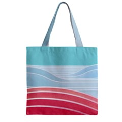 Wave Waves Blue Red Zipper Grocery Tote Bag