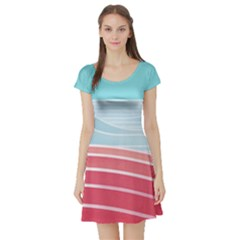 Wave Waves Blue Red Short Sleeve Skater Dress