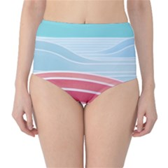 Wave Waves Blue Red High-Waist Bikini Bottoms