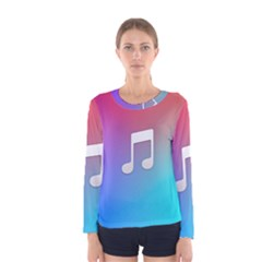 Tunes Sign Orange Purple Blue White Music Notes Women s Long Sleeve Tee