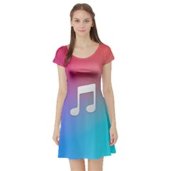 Tunes Sign Orange Purple Blue White Music Notes Short Sleeve Skater Dress