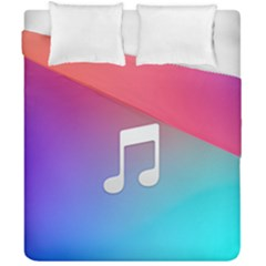 Tunes Sign Orange Purple Blue White Music Notes Duvet Cover Double Side (california King Size)