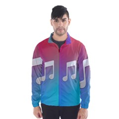 Tunes Sign Orange Purple Blue White Music Notes Wind Breaker (Men)