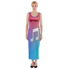 Tunes Sign Orange Purple Blue White Music Notes Fitted Maxi Dress