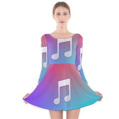 Tunes Sign Orange Purple Blue White Music Notes Long Sleeve Velvet Skater Dress