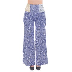 Flower Floral Grey Blue Gold Tulip Pants