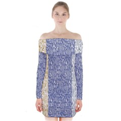 Flower Floral Grey Blue Gold Tulip Long Sleeve Off Shoulder Dress