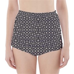 Modern Oriental Pattern High-Waisted Bikini Bottoms