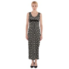 Modern Oriental Pattern Fitted Maxi Dress