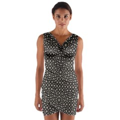 Modern Oriental Pattern Wrap Front Bodycon Dress