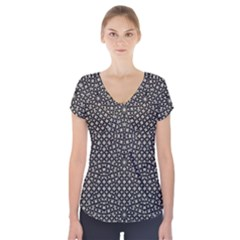 Modern Oriental Pattern Short Sleeve Front Detail Top