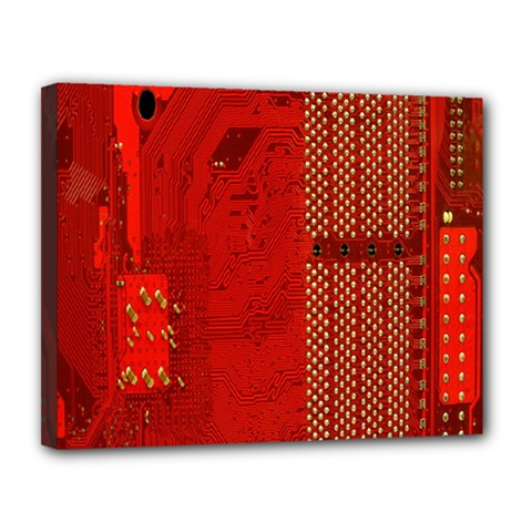 Computer Texture Red Motherboard Circuit Canvas 14  x 11