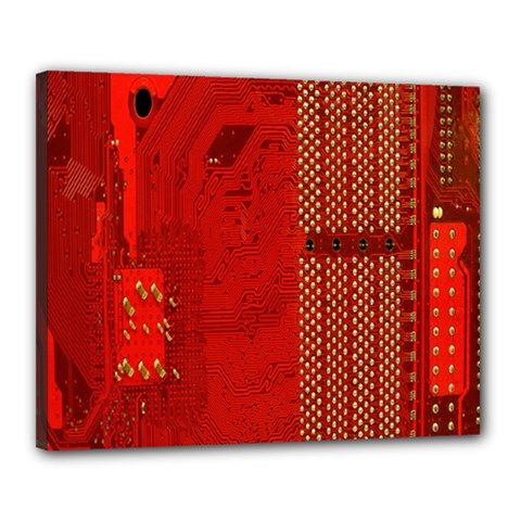 Computer Texture Red Motherboard Circuit Canvas 20  x 16