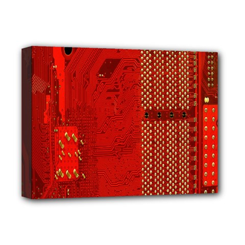 Computer Texture Red Motherboard Circuit Deluxe Canvas 16  x 12