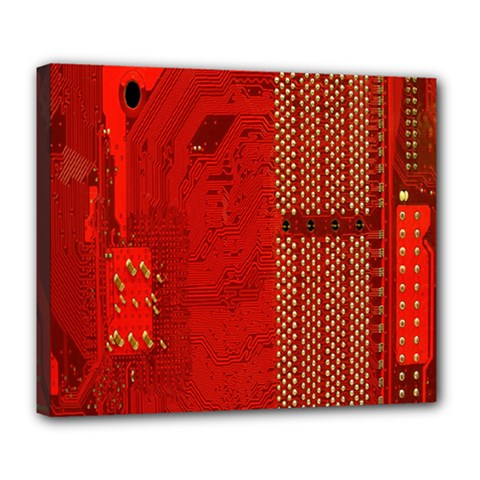 Computer Texture Red Motherboard Circuit Deluxe Canvas 24  x 20
