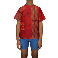 Computer Texture Red Motherboard Circuit Kids  Short Sleeve Swimwear