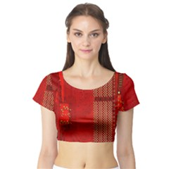Computer Texture Red Motherboard Circuit Short Sleeve Crop Top (tight Fit)