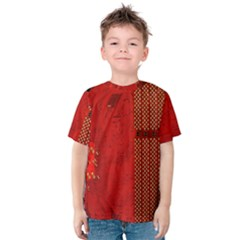 Computer Texture Red Motherboard Circuit Kids  Cotton Tee