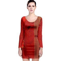 Computer Texture Red Motherboard Circuit Long Sleeve Bodycon Dress