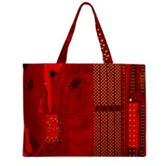 Computer Texture Red Motherboard Circuit Mini Tote Bag