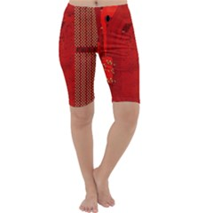 Computer Texture Red Motherboard Circuit Cropped Leggings