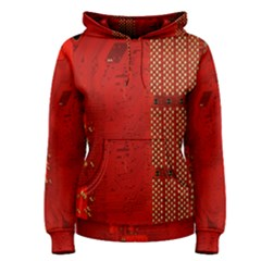Computer Texture Red Motherboard Circuit Women s Pullover Hoodie