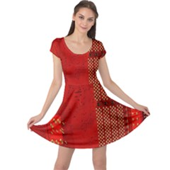 Computer Texture Red Motherboard Circuit Cap Sleeve Dresses