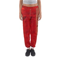Computer Texture Red Motherboard Circuit Women s Jogger Sweatpants