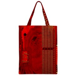Computer Texture Red Motherboard Circuit Zipper Classic Tote Bag