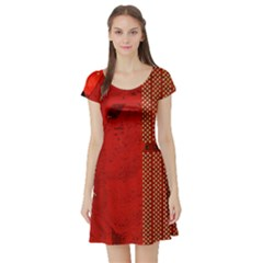 Computer Texture Red Motherboard Circuit Short Sleeve Skater Dress