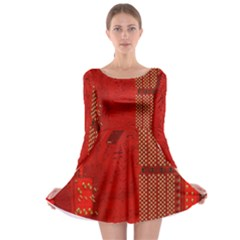 Computer Texture Red Motherboard Circuit Long Sleeve Skater Dress