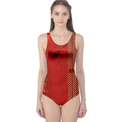 Computer Texture Red Motherboard Circuit One Piece Swimsuit