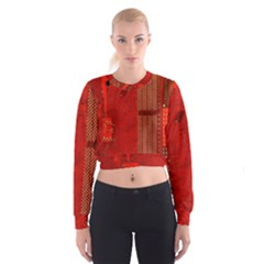 Computer Texture Red Motherboard Circuit Women s Cropped Sweatshirt