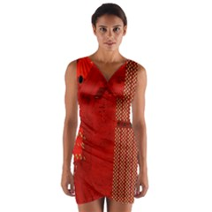 Computer Texture Red Motherboard Circuit Wrap Front Bodycon Dress