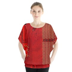 Computer Texture Red Motherboard Circuit Blouse