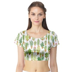 Flowers Pattern Short Sleeve Crop Top (Tight Fit)