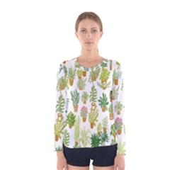 Flowers Pattern Women s Long Sleeve Tee